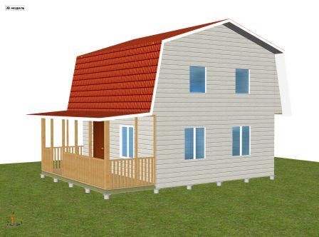 двухэтажный дачный дом 6 х 6 с террасой