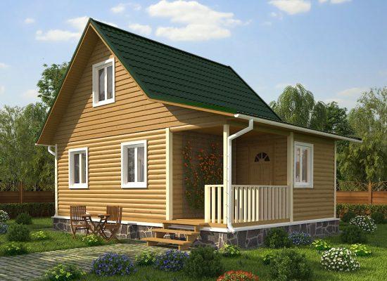 каркасный дачный дом 6 х 6 м с террасой